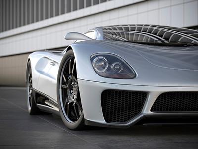A silver sports car